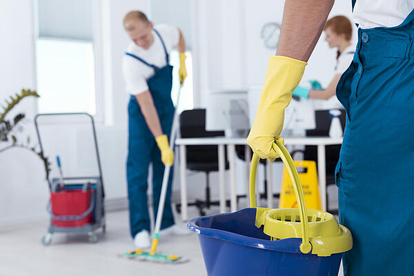 A professional commercial cleaning crew doing a spring cleaning.