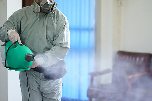 Professional virus disinfectant sprayings slow the spread of infection.